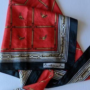 Silk scarf equestrian print square Sunkyung Sa